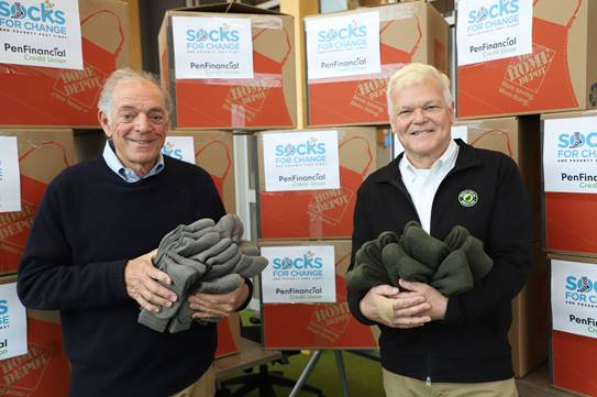 PenFinancial donates $20,000 to kick off this winter's Socks for Change Program